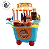 Kids Grill Playset, BBQ Cart Toy for Boys and Girls, Pretend Play for Toddlers, Kids Kitchen Set Accessories, Great for Role Play, Educational Set to Boost Imagination & Creativity, Birthday Gift 3+