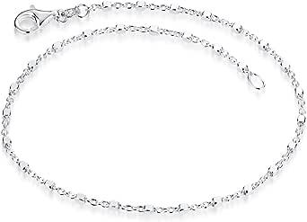 MATERIA SA-119 - Pulsera fina para mujer de plata 925, con forma de cubo, con cierre de mosquetón en 17, 18, 19, 20, 21, 22 cm