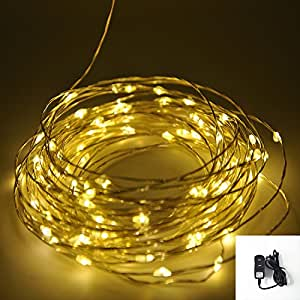 Shine-Co LED String Lights Flexible Silver Coating Copper Wire Starry Lights(100 Leds, 33 ft, Warm White), with UL Certified 5V Power Adapter