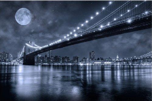 Startonight Wall Art Canvas Brooklyn Bridge, New York USA Design for Home Decor, Dual View Surprise Artwork Modern Framed Ready to Hang Wall Art 23.62 X 35.43 Inch 100% Original Art Painting! by Startonight