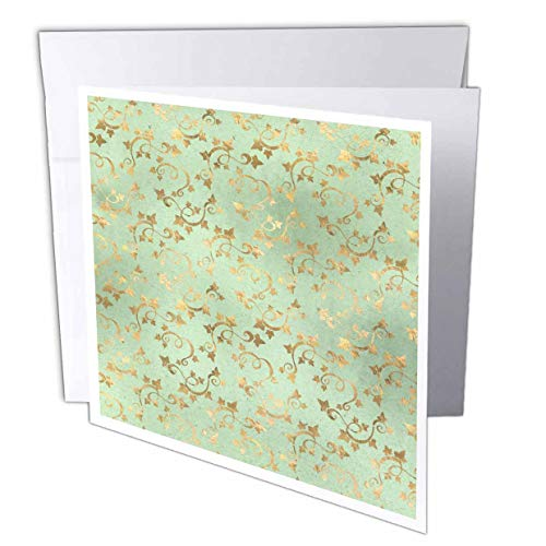 e4d815e2002a 3dRose Anne Marie Baugh - Patterns - Pretty Image of Gold Ivy Leaves On  Soft Green Pattern - 12 Greeting Cards with envelopes (gc_309748_2)