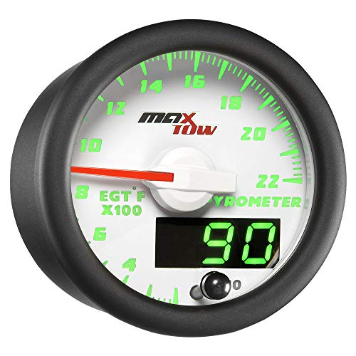 MaxTow Double Vision 2200 F Pyrometer Exhaust Gas Temperature EGT Gauge Kit - Includes Type K Probe - White Gauge Face - Green LED Dial - Analog & Digital Readouts - for Gas Trucks - 2-1/16