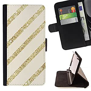Jordan Colourful Shop - gold glitter beige lines parallel pattern For Samsung Galaxy S3 III I9300 - Leather Case Absorci???¡¯???€????€??????