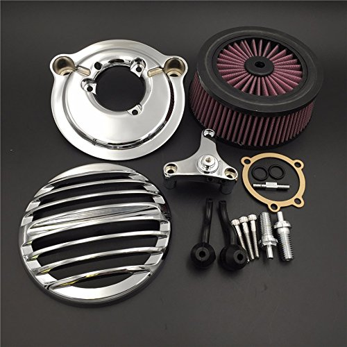 HTT Motorcycle Chrome Grille Air Cleaner Intake Filter System Kit For Harley Davidson 2007-later XL Sportster 1200 Nightster 883 XL883 Low XL1200L Seventy Two Forty Eight