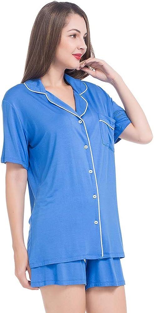 MANCYFIT Womens Pajamas Long Sleeve Set Button Down Top with Pants Pjs Sleepwear XS-XXL