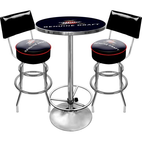 Miller Genuine Draft Ultimate Gameroom Combo - 2 Bar Stools with Back & Pub Table (Miller Light Bar Stool)