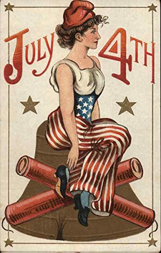 - July 4th - Liberty Sitting Atop Bell 4th of July Original Vintage Postcard