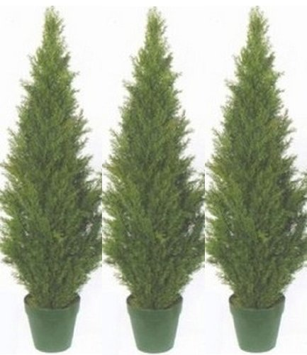 Three 4 Foot Artificial Topiary Cedar Trees Potted Indoor Outdoor Plants by Silk Tree Warehouse