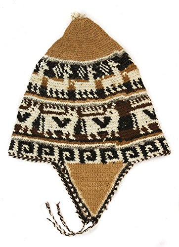 Tumia LAC Adult Alpaca Crochet Chullo Hat with Earflaps One Size Brown