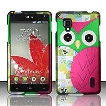 Green Owl Design Rubberized Hard Cover Phone Case for LG Optimus G LS970 Sprint
