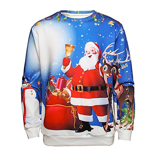3f3a513914 DressLily Christmas Ugly Santa Claus Bell House Snowman 3D Printed Pullover  Long Sleeve Sweatshirt - Buy Online in Oman.