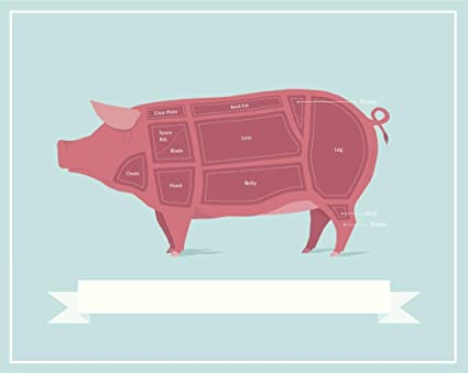 Amazon Cuts Of Pork Butcher Shop Diagram Poster 36x24 Inch