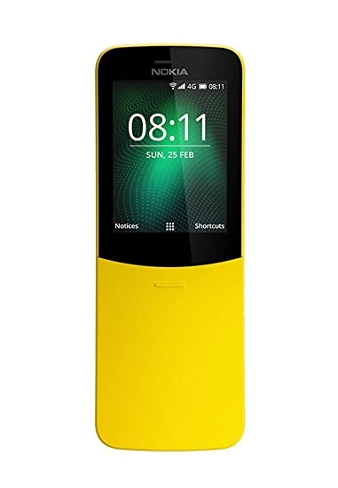 Nokia 8110 4G Dual SIM Mobile Phone with 1500mAH Battery and 2 45-inch  Screen (Yellow)