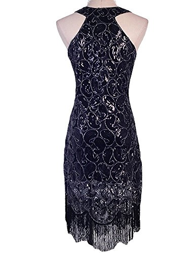20s Costumes Nyc (Tina Vent Beautiful Women's 1920s Sequin Paisley Pattern Fringe Gatsby Costume Flapper Dress XXL Pure Black Glam Pure BlackXX-Large)