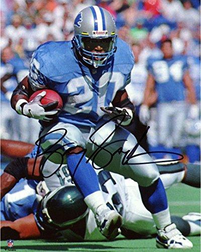 Detroit Lions Autographed Blue Jersey - Barry Sanders Detroit Lions Autographed 8