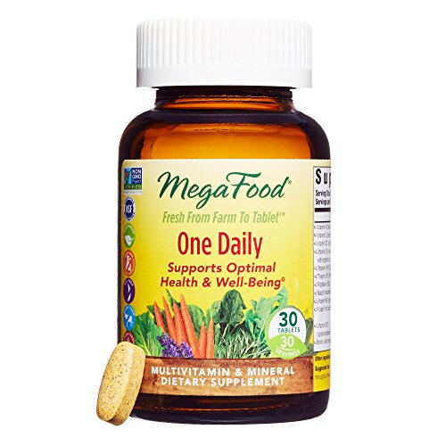MegaFood - One Daily, Multivitamin Support for Immune and Nervous System Health, Energy Production, and Mood Balance with Folate and B Vitamins, Vegetarian, Gluten-Free, Non-GMO, 30 Tablets (FFP)