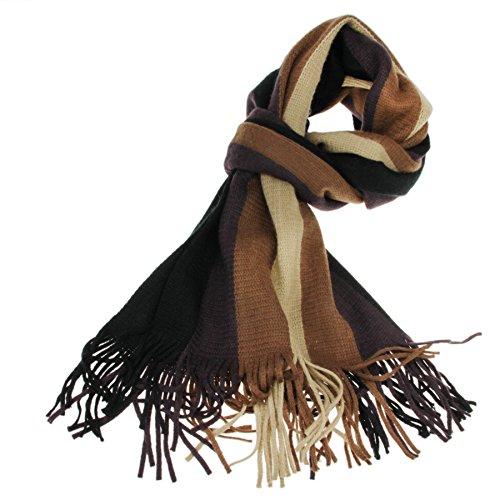 FakeFace Echarpe Chaude Hommes Mode Hiver en Cachemire Écharpe Epais à Rayures  Thermique Loisirs - Café - Taille M  Amazon.fr  Vêtements et accessoires 08abad2b2c5