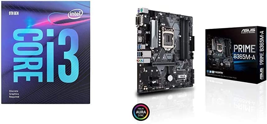 Intel Core i3-9100F Desktop Processor 4 Core Up to 4.2 GHz Without Processor Graphics with Asus Prime B365M-A LGA-1151 Support 9th/8th Gen Intel Processor Motherboard