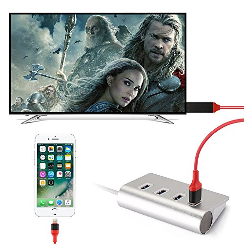 Lightning to HDMI,Apple to HDMI Adapter,[2018 UPGRADED],KXFTOP,Lightning Digital AV To HDMI Adapter 1080PAV Adapter HDTVCable6.5Ft For iPhoneX/8/7/6/5 Plug and Play,(Material: ABS)