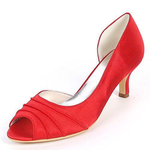 Pío yc Flores Los Boda Corte Las De Pies Blancos Mujeres Grueso Tacón Bombas 6cm En Red L Zapatos gwd7BYY