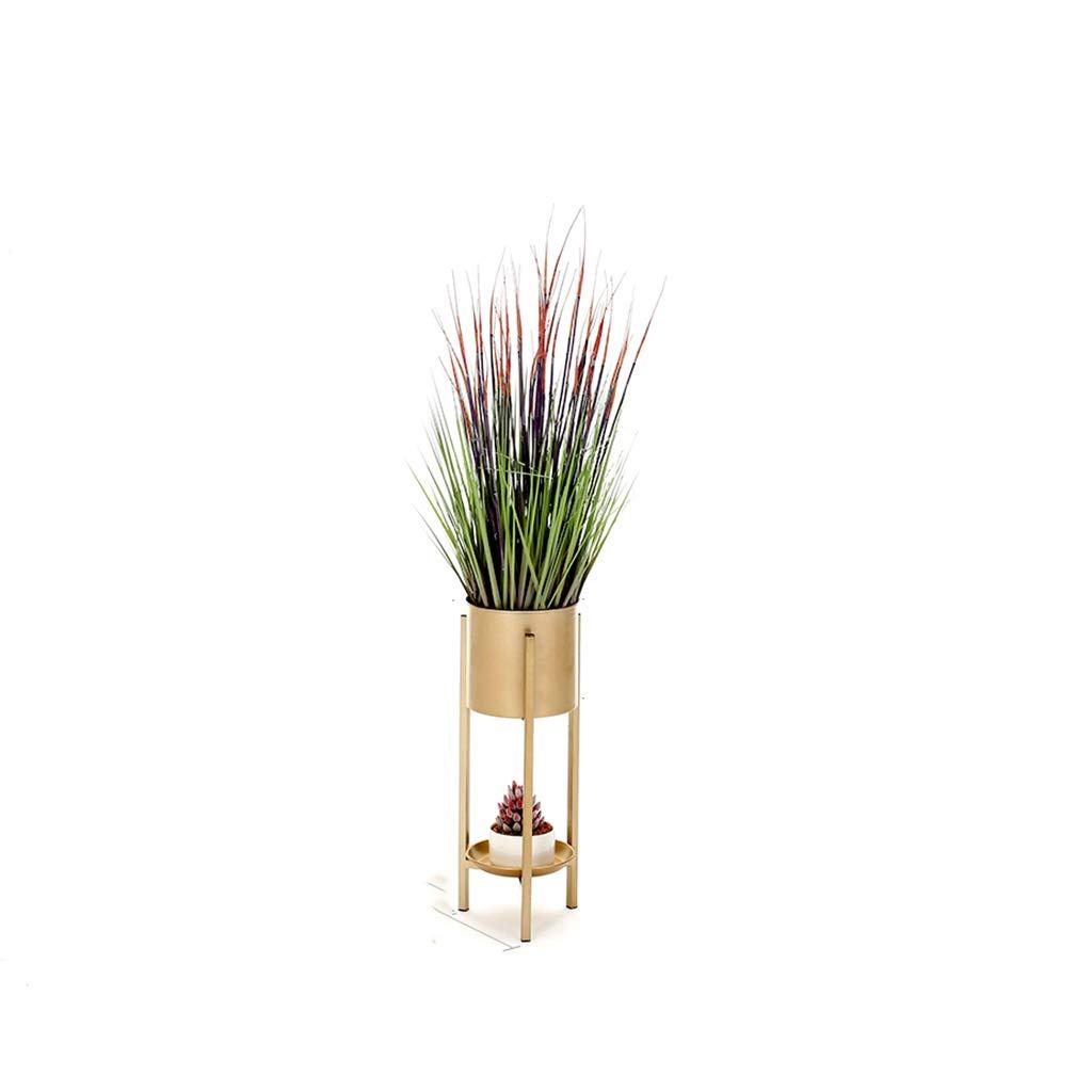 金属の庭の植物のポット表示スタンドラウンド屋内と屋外の花のスタンドラウンドフロア緑の棚多層バルコニーの飾り屋内の盆栽のポットラック (色 : ゴールド, サイズ さいず : 59 * 20) B07HQQ44D3  ゴールド 59*20