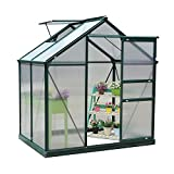 Outsunny Clear Polycarbonate Greenhouse Large Walk-In Green House Garden Plants Grow Galvanized Base Aluminium Frame w/ Slide Door (6ft x 4ft)
