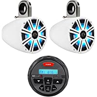 (2) KICKER 43KM84LCW 8 600w Marine Wakeboard LED Speakers+Bluetooth Receiver