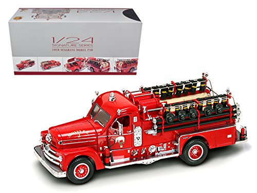 Road Signature 20168r 1958 Seagrave 750 Fire Engine Truck Red with Accessories 1-24 Diecast Model (Fire Engine Signature)