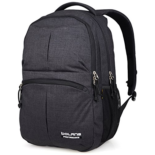 College Backpack for Men Women Water Resistant Travel Backpack Laptop Backpacks Fits Under 16 Inch Laptop Notebook by BOLANG 8459 (black) by BOLANG