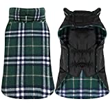 Dog Jacket - TPYQdirect Waterproof Windproof Reversible British style Plaid Dog Vest Winter Coat Warm Dog Apparel for Cold Weather Dog Jacket for Small Medium Large dogs with Furry Collar (XXXL - GREEN)