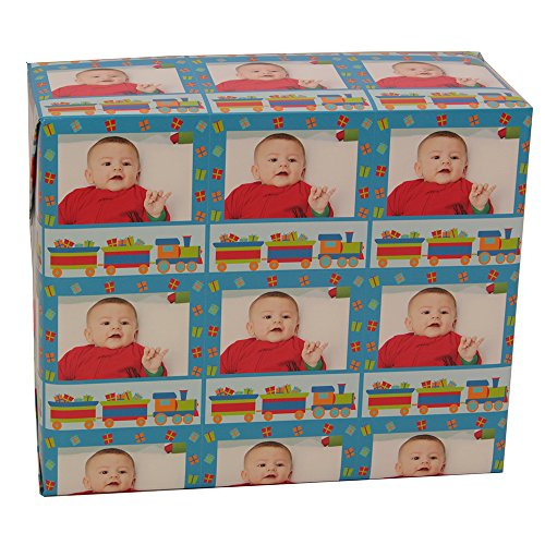 Christmas Custom Gift Wrap   Personalized Photo Gift Wrapping Paper (6 Foot roll, Christmas Trains and Presents)