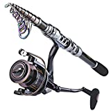 Sougayilang Telescopic Fishing Rod with Reel Combos Set Portable Carbon Light Weight Travel Fish Kits