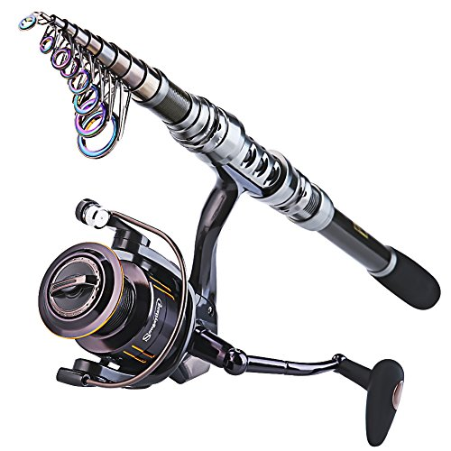 Sougayilang Portable Telescopic Fishing Rod and Reel Combos Travel Spinning Fishing Pole Kits