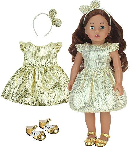[해외]Sophia`s 골드 스팽글 드레스 머리띠 및 신발 18인치 인형 미국 인형에 적합 / Sophia`s Gold Sequin Dress, Headband and Shoes for 18 Inch Dolls, Fits American Dolls & More