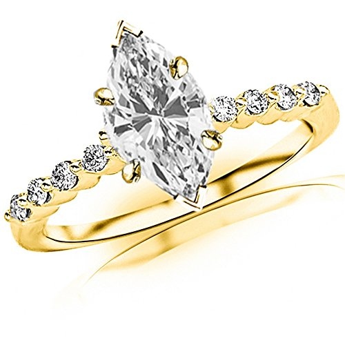 0.76 Carat t.w. 14K Yellow Gold GIA Certified Marquise Floating Prong Set Round Diamond Engagement Ring H/IF Clarity Center Stones.