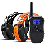 Hilifeone Remote Dog Training Collar, Rechargeable and Waterproof with Harmless Warning Beep, Vibration and Shock Electronic Barking Control Collar Trainer for 10-120lb Dogs, 330yd Range (for Two Dog)