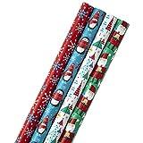 Image Arts Paquete de papel de regalo de Navidad con líneas cortadas en el reverso, Family Friendly, 4 Pack, Quad Pack, 1