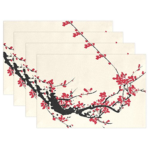 Cherry Placemat (Naanle Japan Japanese Placemats, Traditional Artistic Cherry Blossom Heat-resistant Washable Table Place Mats for Kitchen Dining Table Decoration)