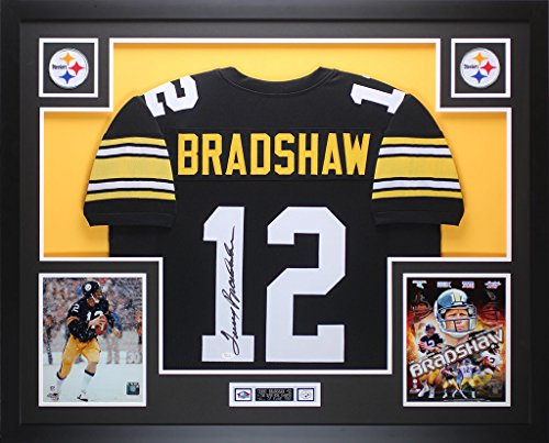 Signed Framed Steelers Jersey (Terry Bradshaw Autographed Black Steelers Jersey - Beautifully Matted and Framed - Hand Signed By Terry Bradshaw and Certified Authentic by JSA COA - Includes Certificate of Authenticity)