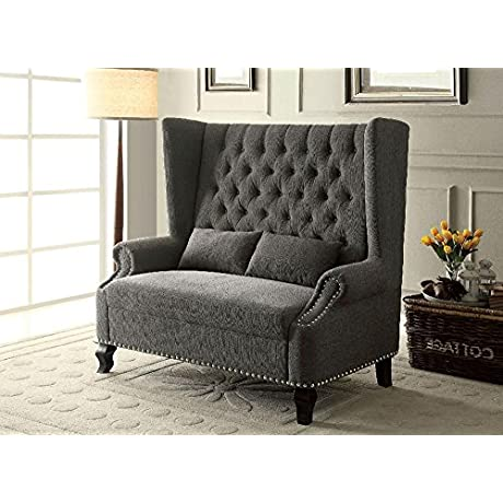 Farren English Style 57 5 Inch Long Banquette Loveseat Bench In Grey Fabric