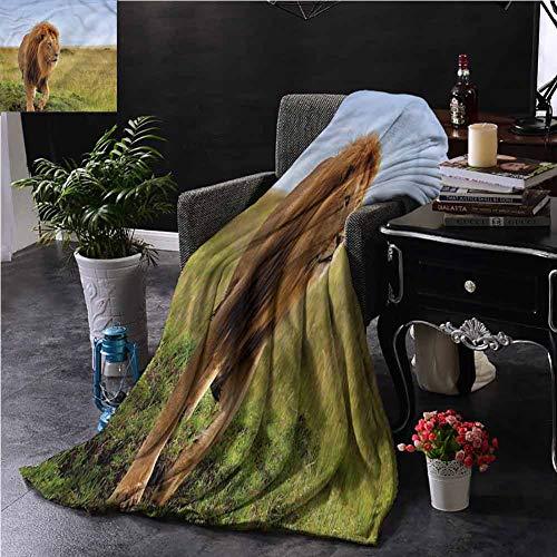 SSKJTC Lion King Size Throw Blanket Double-Sided Printing Animal on Masai Mara Kenya Sofa Camping Reading Car Travel W84 xL70 (Sofa Kenya)