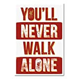 Liverpool FC You'll Never Walk Alone Poster Cork Pin Memo Board White Framed - 96.5 x 66 cms (Approx 38 x 26 inches)