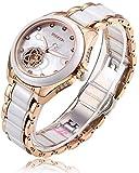 RUNOSD Women's Diamond Stainless Steel Ceramic Watch Rose Gold Fully Automatic Mechanical Watch