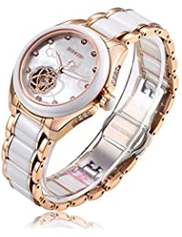 RUNOSD Women's Diamond Stainless Steel Ceramic Watch Rose Gold Fully Automatic Mechanical Watch 8158L