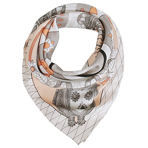 Silk Scarf Women, 100% Silk Pure Mulberry for Women Square Wrap 35''x35'' (orange)