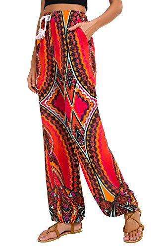 Urban CoCo Women's Floral Print Boho Yoga Pants Harem Pants Jogger Pants (#14, M) - Floral Day Shirt Trip