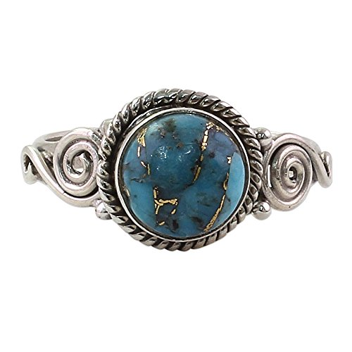 NOVICA Reconstituted Turquoise .925 Sterling Silver Spiral Cocktail Ring 'Blue Attunement' ()