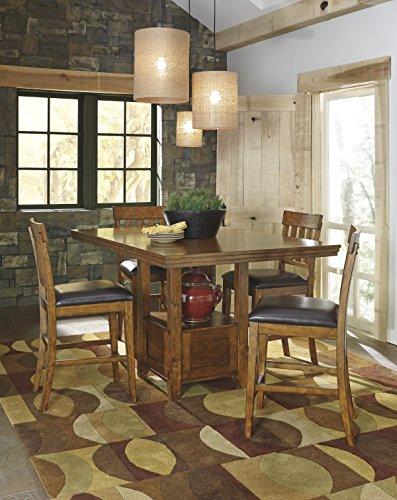 Ralerrine Medium Brown Formal Dining Set, Counter Table and 4 Upholsteredolstered Barstool