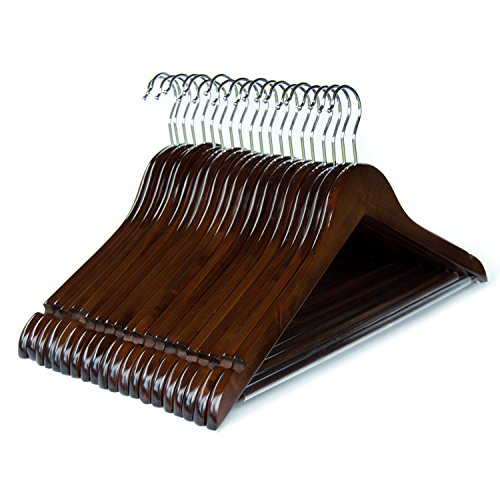 Clutter Mate (Set of 20) Premium Finished Wood Clothes Hangers Walnut Wooden Coat Hangers (Dress Wood Walnut)