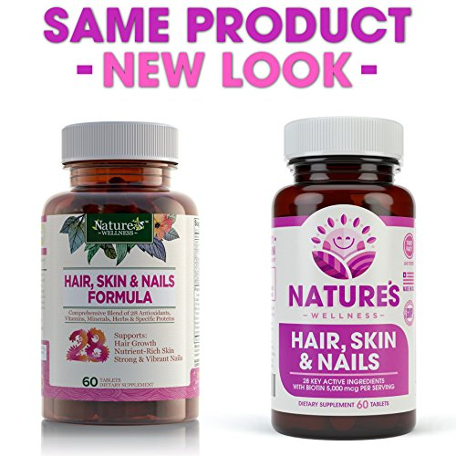 Hair Skin amp Nails Supplement - 5000mcg Biotin Silica Vitamin C E B Natural Essential Vitamins and Advanced Nutrient Complex for Thinning Hair Men and Women - by Nature039s Wellness 60 Tablet Discount